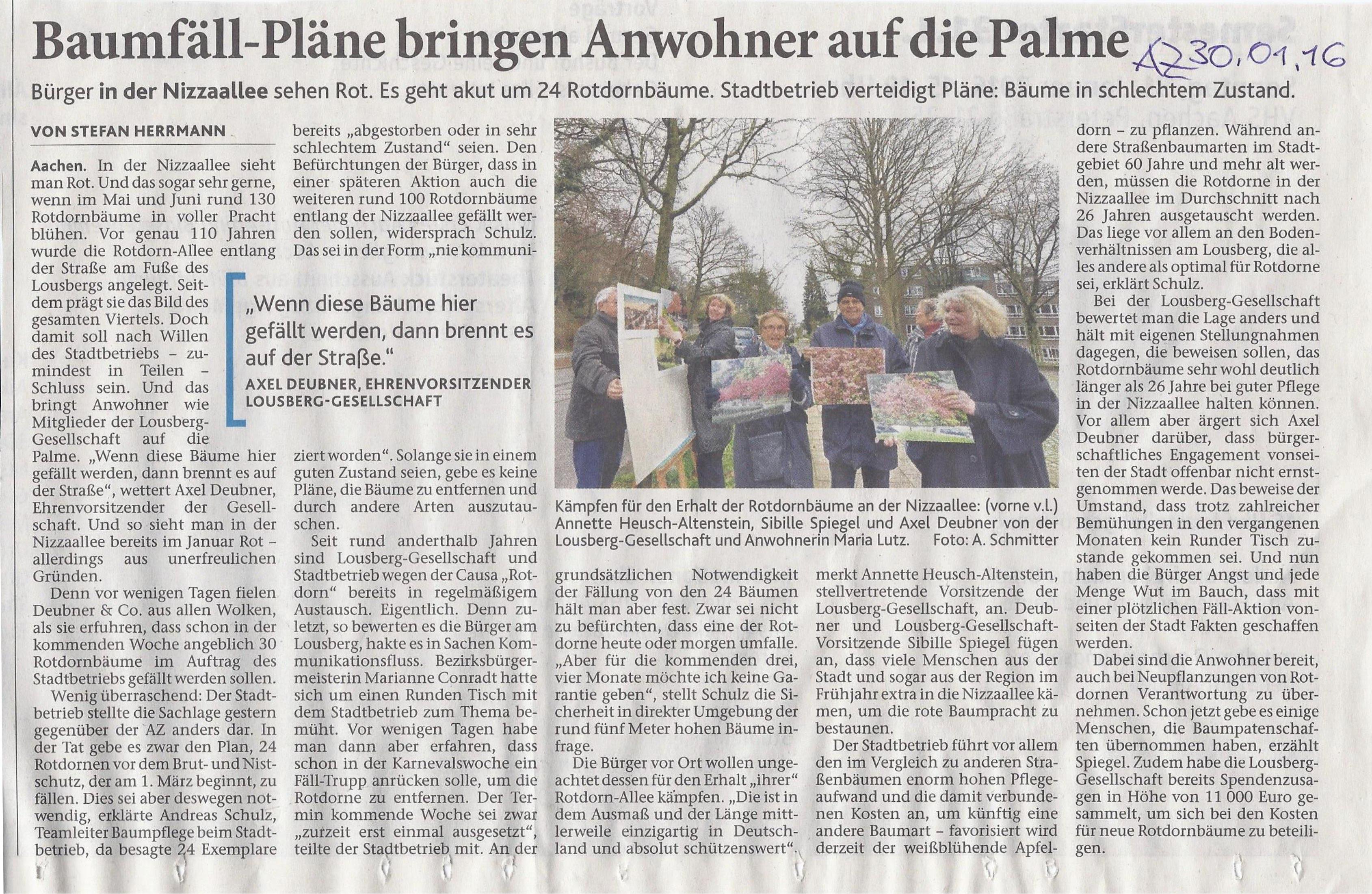 """mit freundlicher Genehmigung der Aachener Zeitung: """"Baumfäll-Pläne bringen Anwohner auf die Palme"""" vom 30.01.2016"""